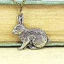 Wild Rabbit Necklace Pendant Pewter
