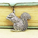 Wild Squirrel Necklace Pendant Pewter