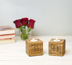 Personalised Oak Tealight Holder - candles & candle holders