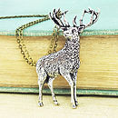 Standing Stag Necklace Pendant Pewter