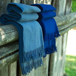 Merino Wool Throw Blue Tones Simone - blankets & throws
