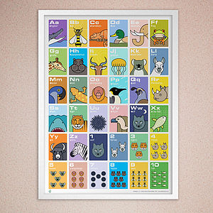 Animal Alphabet And Counting Poster - posters & prints