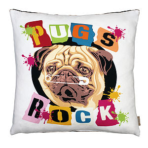 Pug Cushion - living room
