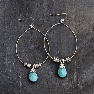 Eleanor Hoop Drop Earrings With Turquoise - january blues, greens & greys