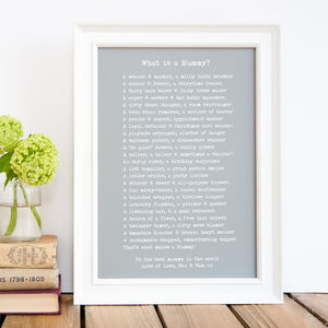 'What Is A Mum?' Poem Personalised Print - prints & art