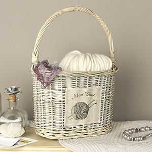 French Wicker Knitting Basket With Carry Handle - sewing boxes