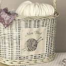 French Wicker Knitting Basket With Carry Handle
