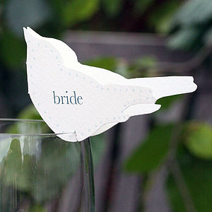 Wedding Bird Place Setting For Wine Glasses - sale by room