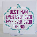 'Best Nan Ever' Card