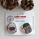 Father Christmas And Eliza   Two Button Set