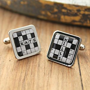 Personalised Crossword Cufflinks - men's accessories