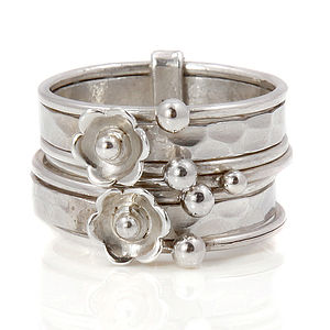 Flower Silver Stacking Ring - rings