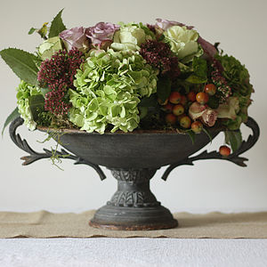 Rusty Footed Urn - rustic autumn wedding styling