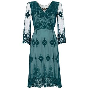 Claudia Long Sleeve Dress In Teal Lace