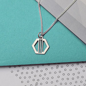 Art Deco Hexagon Charm Necklace - contemporary jewellery
