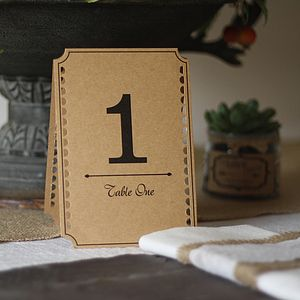Set Of 12 Brown Card Table Numbers - place card holders