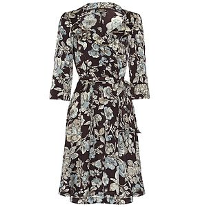Gabrielle Dress Chocolate Sketch Rose Print - women's fashion
