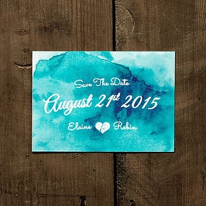 Watercolour Save The Date Card - wedding stationery