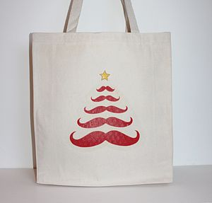 Christmas Tree Moustache Bag