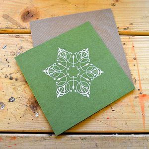 Six White Snowflake Christmas Cards