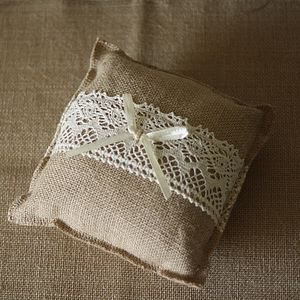 Hessian Lace Wedding Ring Cushion - wedding ring pillows