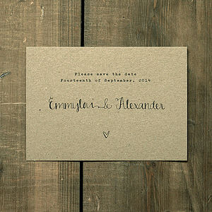 Calligraphy Kraft Save The Date Card