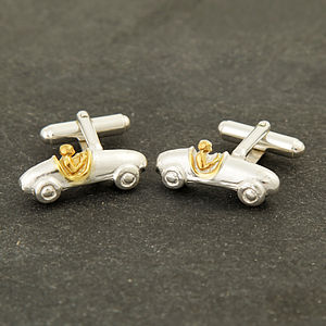 Solid Silver And Gold Bugatti Cufflinks - men's accessories