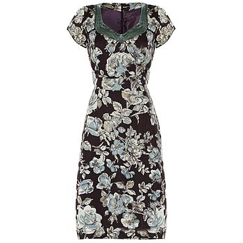 1950s Shift Dress In Chocolate Sketch Rose Print