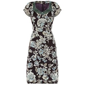 Kelly Dress In Chocolate Sketch Rose Print - florals