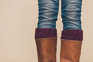 Crochet Boot Cuffs In Pure Icelandic Wool