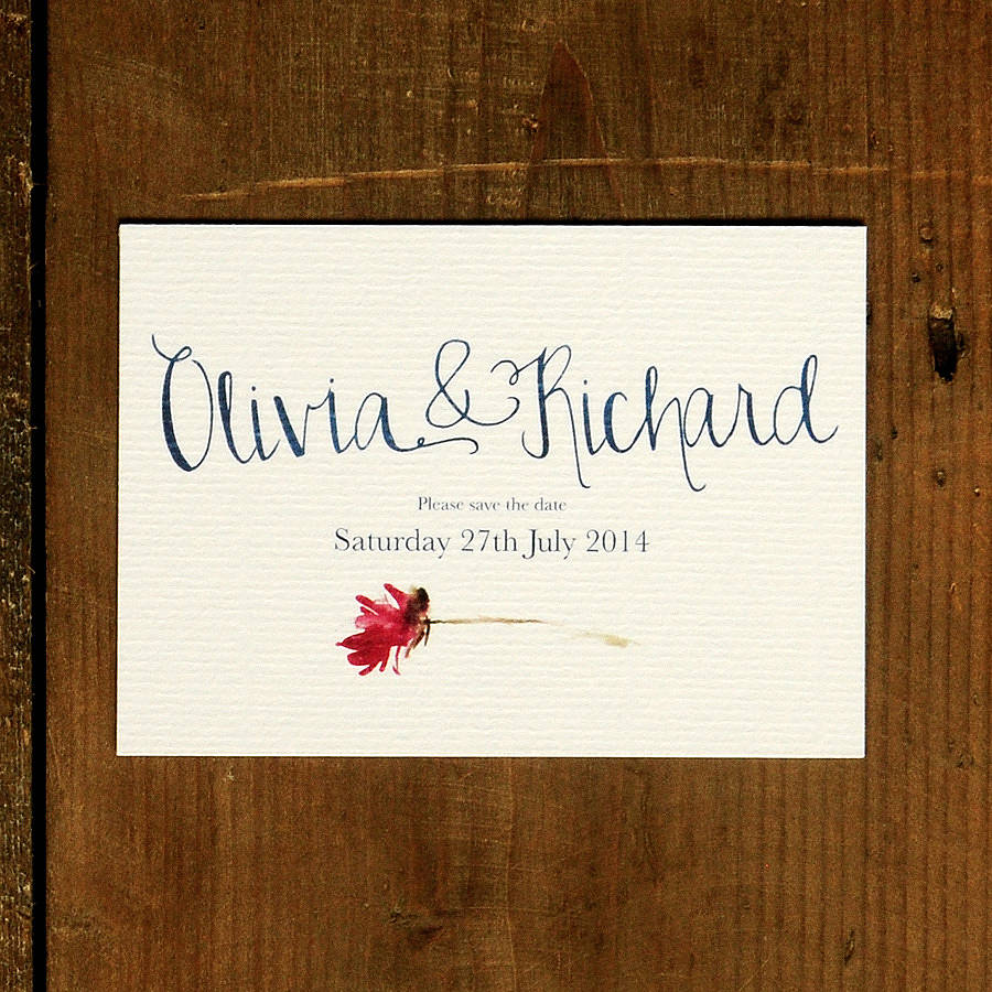 Original Hand Lettered Wedding Save The