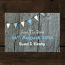 Driftwood Wedding Save the Date Card with Bunting
