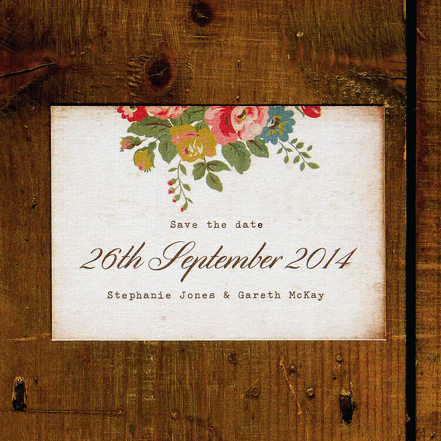 Floral Illustration Postcard Save The Date By Feel Good