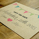 Vintage Bunting Kraft Save the Date Card Detail
