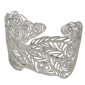 Peacock Cuff Bangle In Silver Or 18ct Gold Vermeil