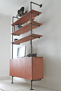 Plywood And Steel Shelving With Cupboard - living room