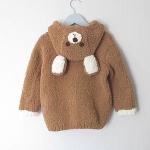 Hand Knitted Hooded Bear Top - clothing