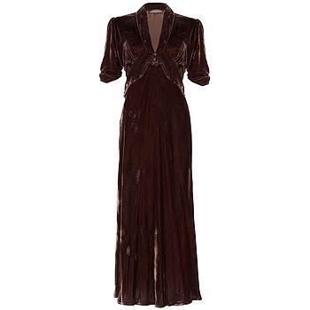 1940s Style Midi Dress In Chocolate Silk Velvet