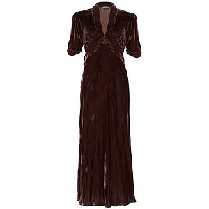 1940s Style Midi Dress In Chocolate Silk Velvet