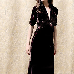 Sable Midi Dress In Chocolate Silk Velvet - dresses