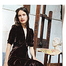 Sable Midi Dress In Chocolate Silk Velvet
