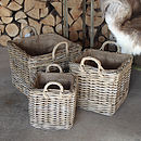 Square Baskets Handles And Removable Liner Set Of Three