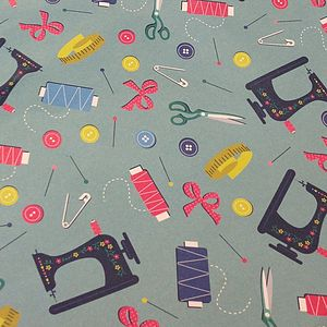 Vintage Love To Sew Gift Wrap Sheet - ribbon & wrap
