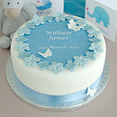 Christening cake decorating kit with blue ribbon