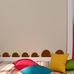 Woodland Hedgehog Family Wall Sticker Decal - office & study