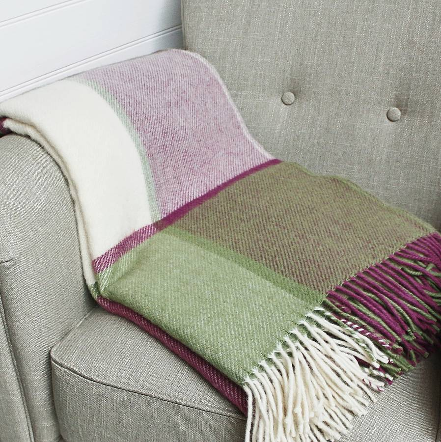 Raspberry Pink And Green Pure Wool Throw
