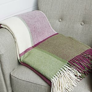 Raspberry Pink And Green Pure Wool Throw - bedding & accessories