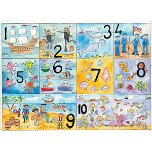 Seaside Numbers Poster