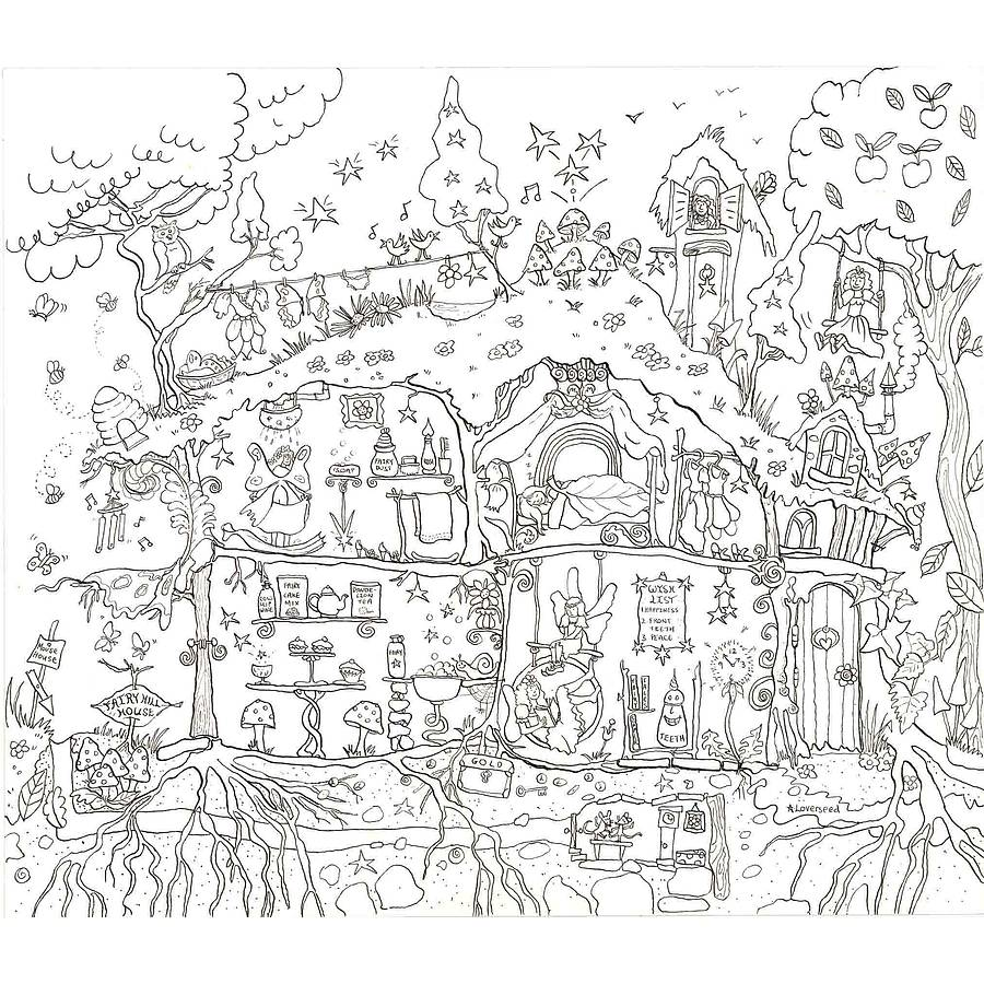 Fairy House Colouring In Poster By Really Giant Posters