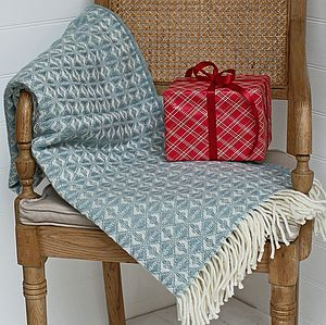 Duck Egg Cobweave Wool Throw - throws, blankets & fabric